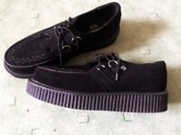 Teddy Boy shoes, Black suede brothel creepers, size 10