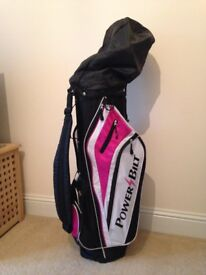 Ladies Power Bilt golf clubs and bag, light weight, hardly used