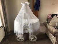 AS NEW BABY CRIB ON WHEELS WHITE