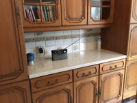 Second hand / used / pine farmhouse style kitchen units and fridge