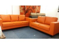 - 14 DAYS MONEY BACK GUARANTEE - LEATHER 3+2 SOFA SET - 7 COLOURS IN STOCK - BRAND NEW - CALL NOW !!