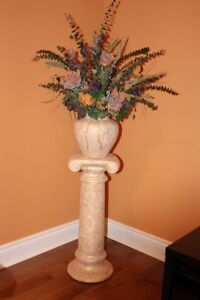 Ceramic Pedestal and Vase with Artificial Flowers