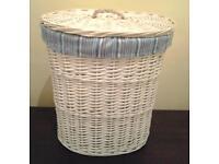 Large cream/ivory wicker laundry basket freestanding with lid room bedroom bathroom cheap West Devon