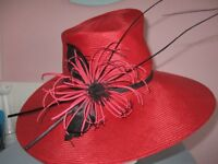 HAT - RED WITH RED/BLACK FLOWER (WHITELY MAKE)