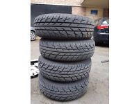 For sale 4 new tyres&and steal wheels