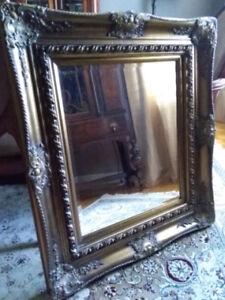 Antique Mirror Solid Wood Frame w Beveled Glass Very Nice!
