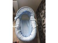 Blue Moses basket & stand immaculate!