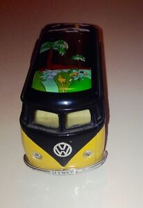 Sunnyside VW Diecast Bus Yellow Black with Palm Trees