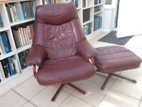 Super comfy red leather reclining armchair with matching padded footstool