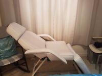 Beauty bed. Dermatek make, fully reclining. Removable armrests and headrest. Excellent condition.