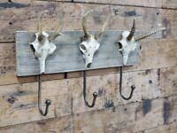 *ANIMAL SKULL HOOKS* - ANTELOPE DEER COAT WALL METAL DECOR HOOKS