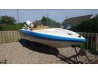 Speedboat ready to go with 70hp engine and trailer