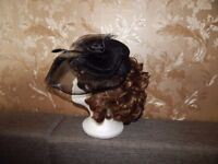 Black Feather Hair Clip Net Bow Mini Top Hat Goth Punk