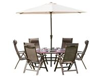 6 Seater garden dining table set with 3m parasol - Royalcraft Florence