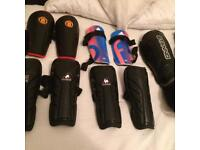 Footy shin pads and gloves