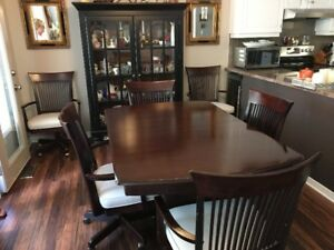 "40"" X 60"" DINING TABLE/20"" LEAF/6 CHAIRS"