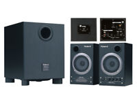 ROLAND DM-2100 2.1-ch Speaker System monitor 2x15w satellites & 50 watt sub & all interconnects