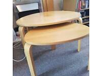Nest of 2 beech coffee tables