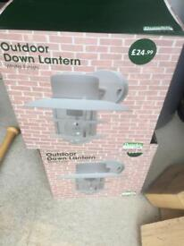 2 x dunelm outside down lanterns in cream brand new in box