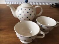 Whittard Polka Dot Teapot (and two cups)