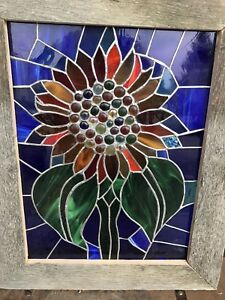 Beautiful Stained Glass Artwork with Rustic Frame