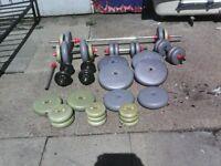 veirious weights few dumbbells situps bench