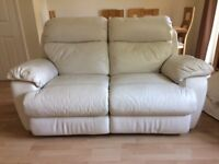 Cream Leather 2 Seat Reclining Sofa