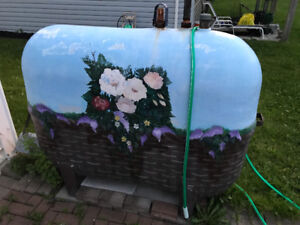 Fibreglass oil tank with approximately 600 litres of oil