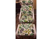 IKEA POANG Armchair and Stool- White Frame/simmarp green
