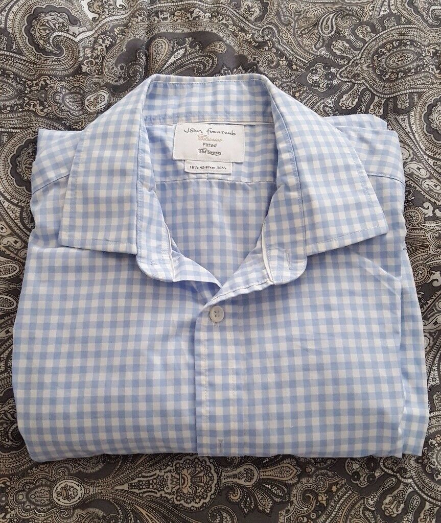 TM Lewin Men's Shirt in Blue & White Check – collar size 16½. RRP £39.95 – worn once