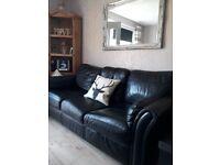 Gorgeous Italian leather black quality sofas
