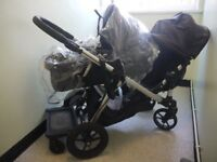 Double Pram Baby Jogger City Select+ extending board+Carrycot