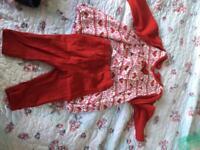 Girls red dress & leggings set (3-6mnths)