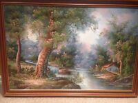 cottage by the lake framed oil painting by Carter