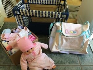 Doll crib and accessories