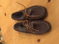 Brown leather mens deck shoes