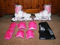 SFR Cyclone Inline Skates and Pink Set of Protective Pads - Adjustable = Sizes 3-6