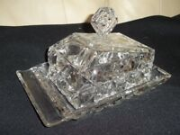 1940s glass cheeese dish , heavy glass