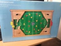 Mini wooden tabletop pinball football game