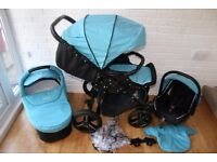 Venicci pram travel system and extras 3 in 1 - denim Sky (Blue) CAN POST
