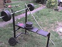 138.6 lb 63 kg Dumbbell & Barbell Weights + Bench - Heathrow