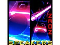 NEON BLUE PINK FUNKY HIFI STEREO SPEAKERS PARTY LIGHTS LOUD COLOURFUL FLASH SYNC RARE AMAZING AUDIO