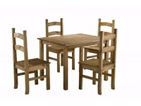 New & boxed Solid Cheap Corona Mexican Pine Dining table an 4 chairs £145