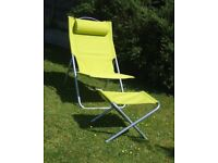 Limegreen / Chrome Deck Chair with detachable Head rest & Foot Stool