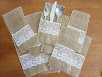 WEDDING CUTLERY HOLDERS - Lace / Hessian x 60