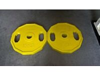 Bodyrip 2 x 15kg Yellow Rubber Colour Coded Weight Plates