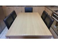 Beech colour dining table with 6 chairs