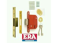 "ERA 76mm 3"" BRITISH STANDARD BS 5 LEVER DEAD LOCK - POLISHED BRASS"