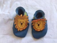 Inch Blue Soft leather moccasin Baby Shoes (0-6 months)