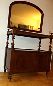 A unique server/sideboard with mirror, refinished (Delivery)